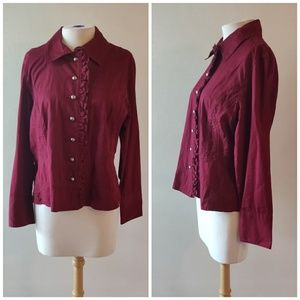 Chico's | Red Embroidered Long Sleeve Button Up